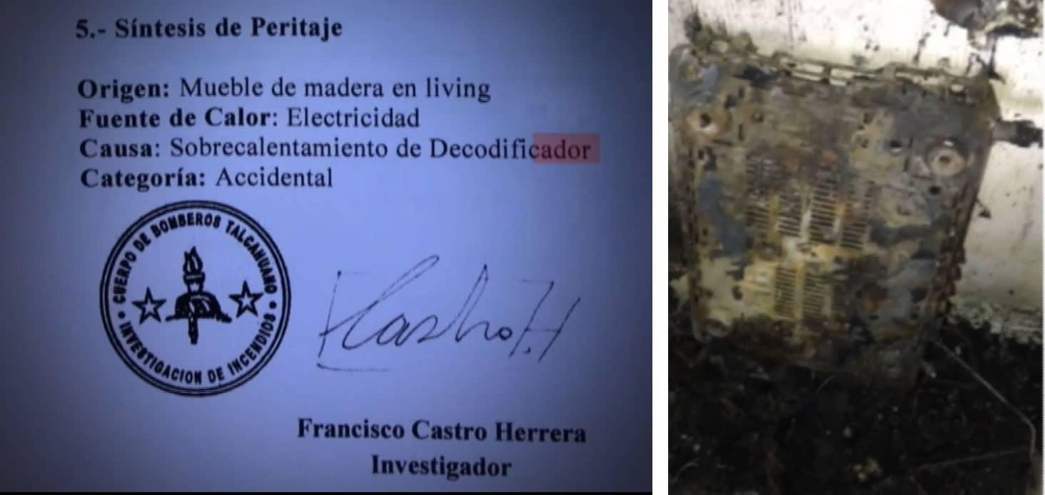 Bomberos ratificó que el decodificador de DIRECTV provocó el incendio.