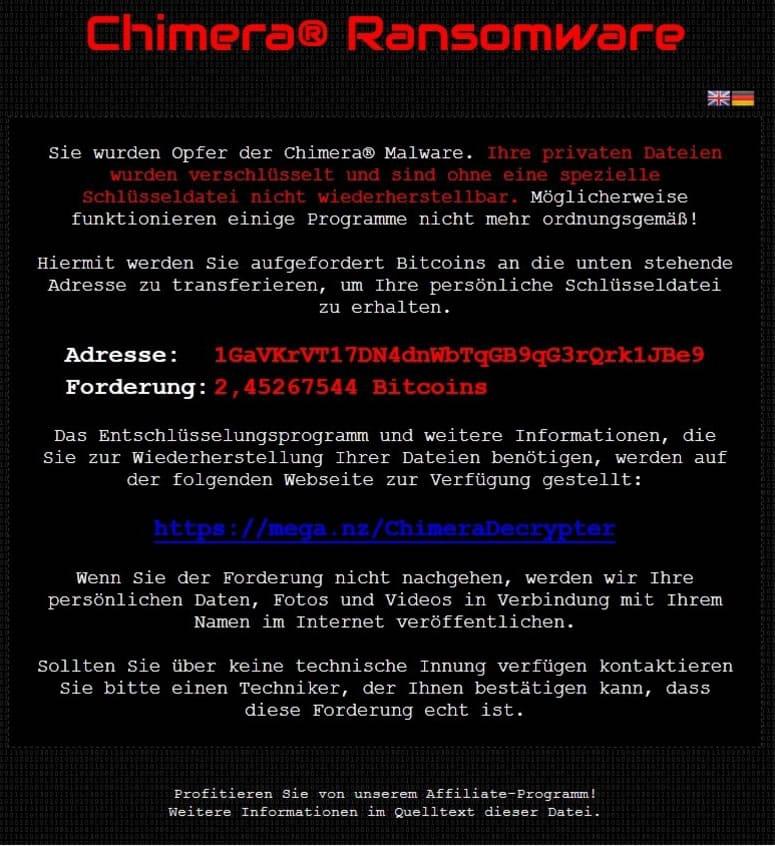 Este es el mensaje que despliega Chimera en el computador infectado.