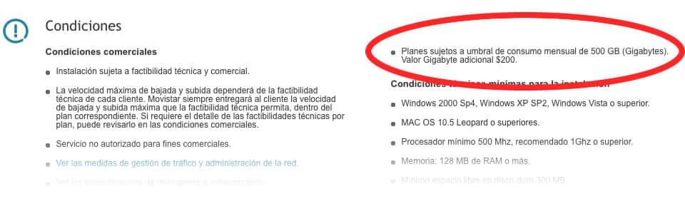 La nueva medida de Movistar ya está reflejada en su Web.
