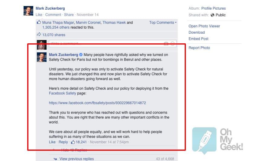 """Mark Zuckerberg explicando las nuevas condiciones de Facebook frente a desastres """"humanos""""."""