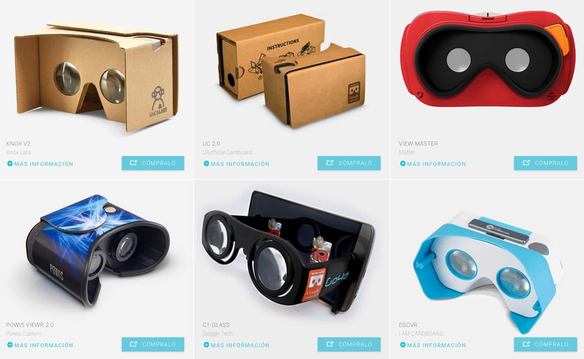 Distintos visores como el que usó la abuela pueden ser comprados en la Web de Google Cardboard.