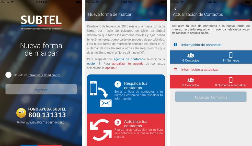 """""""Subtel - Nueva forma de marcar"""" en iOS."""