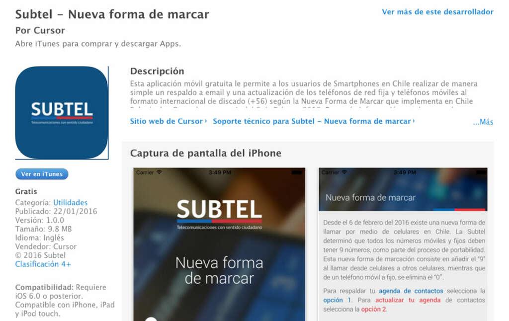 Aplicación de Subtel.