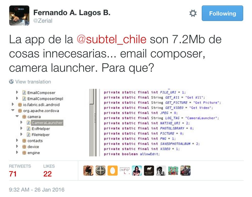 Tweet Zerial App Subtel peso 7mb