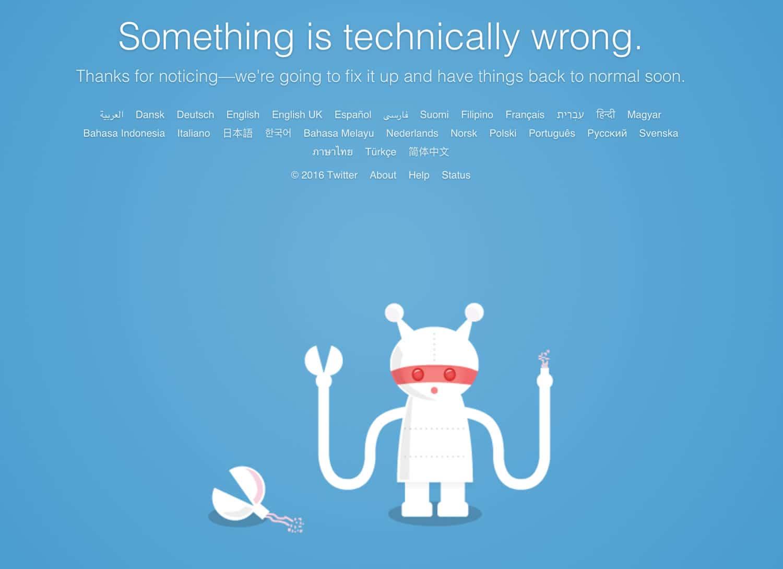 Twitter error tecnico