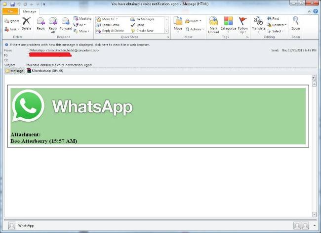 Así luce el falso correo de WhatsApp con el archivo infectado.