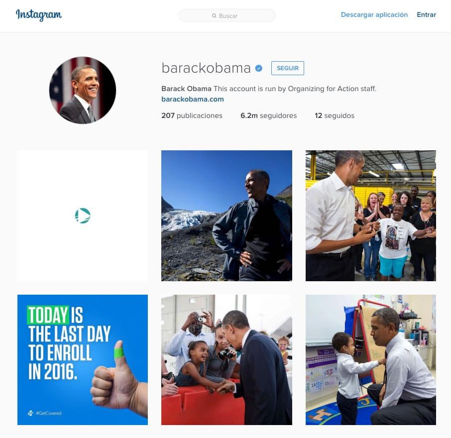 Obama, lidera la lista de políticos más seguidos en Instagram.