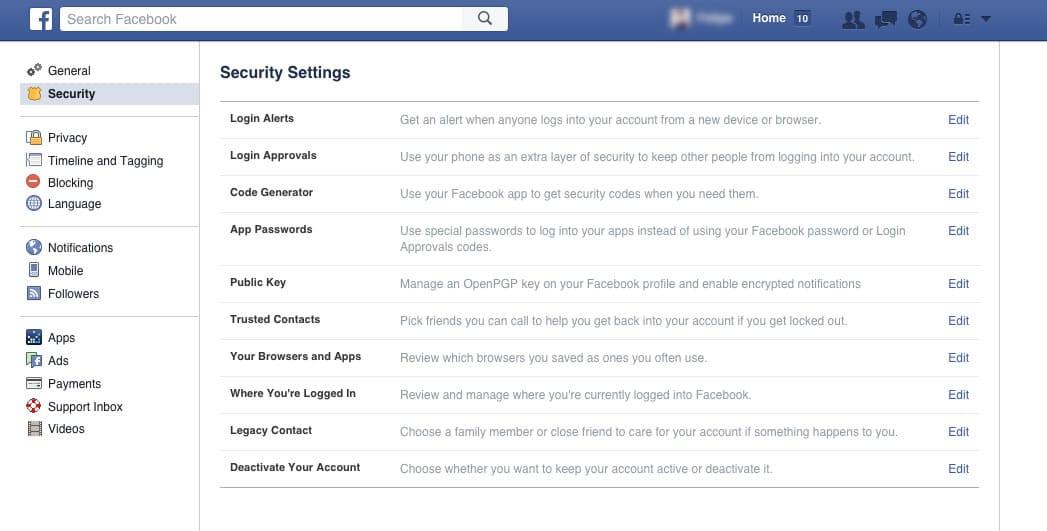 Configuración de seguridad en Facebook.