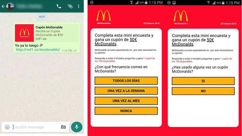 Así llegan los supuestos mensajes de McDonald's.
