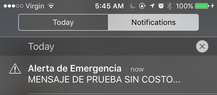 Así luce el mensaje de emergencia del sistema SAE.