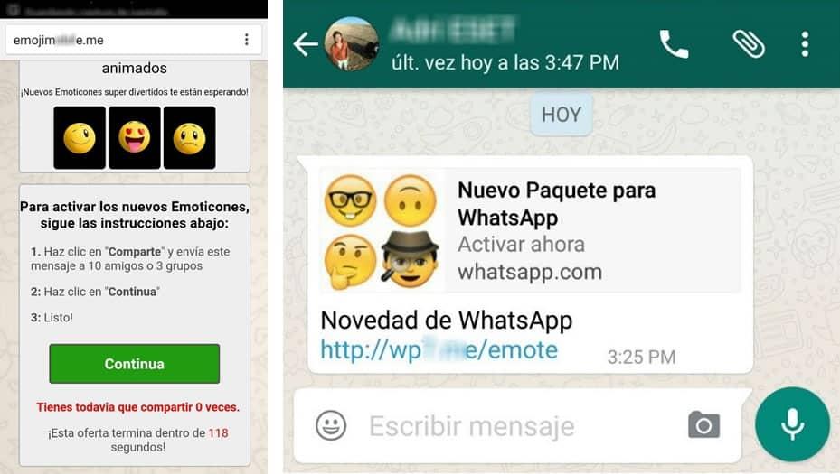 Mensajes de este tipo se reciben para estafar a los usuarios con emojis.