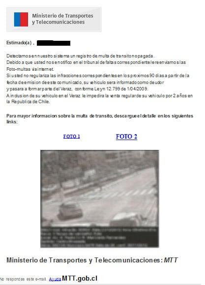 Así luce el falso correo con las supuestas infracciones de tránsito.
