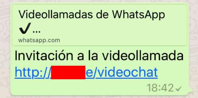 Mensaje que promete las videollamadas en WhatsApp.