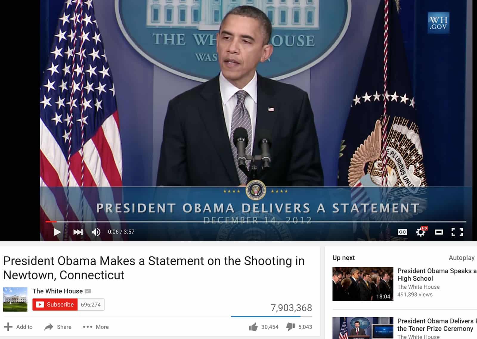 Las intervenciones de Obama en el canal de YouTube de Estados Unidos, son las más populares.