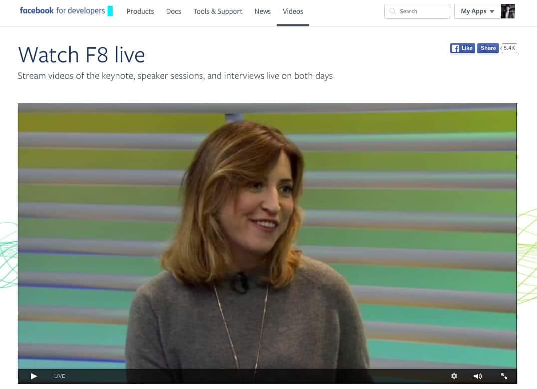 Streaming de Facebook F8 2016.