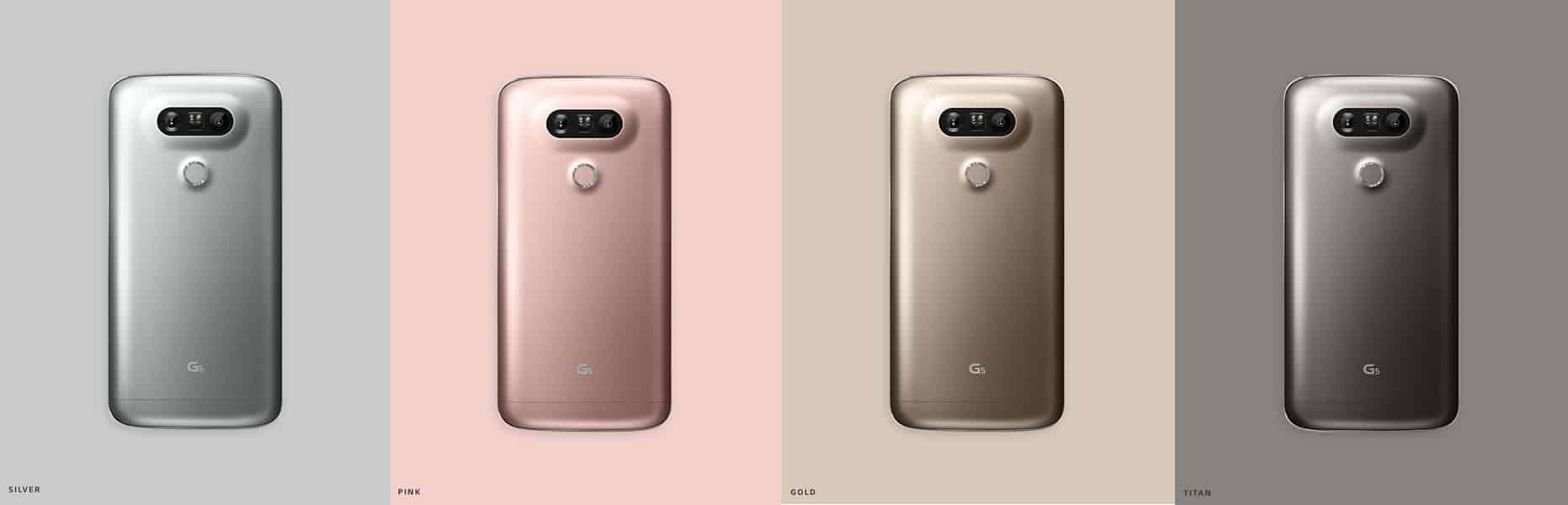 Distintos colores del LG G5.