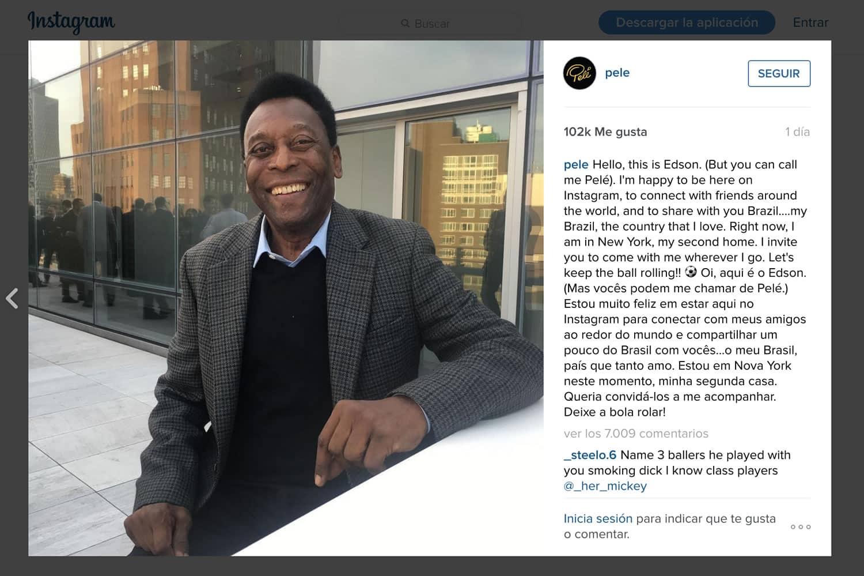 Pelé en Instagram.
