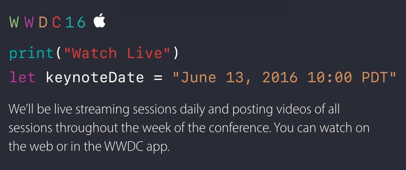 WWDC 2016 será transmitida por Streaming en la Web de Apple.