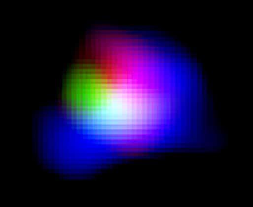La luz del oxígeno ionizado detectada por ALMA se muestra en verde.