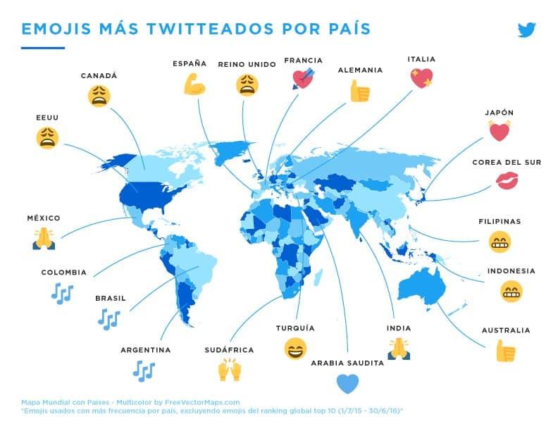 El Emoji más tuiteado por país.
