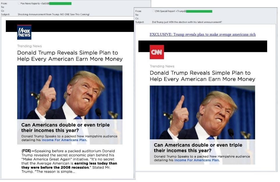Así lucen los falsos correos citando a Donald Trump.