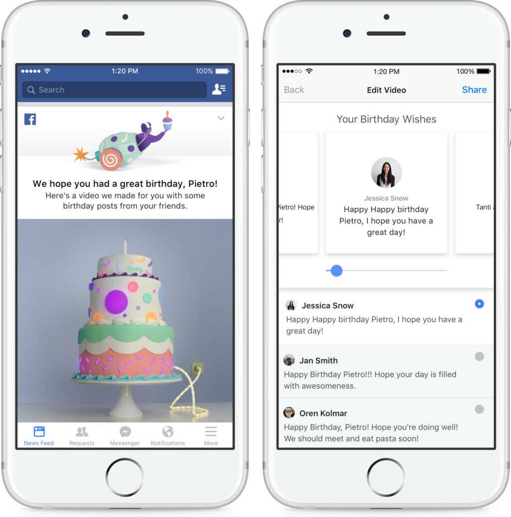 Facebook crea videos de cumpleaños con los mensajes que recibas.