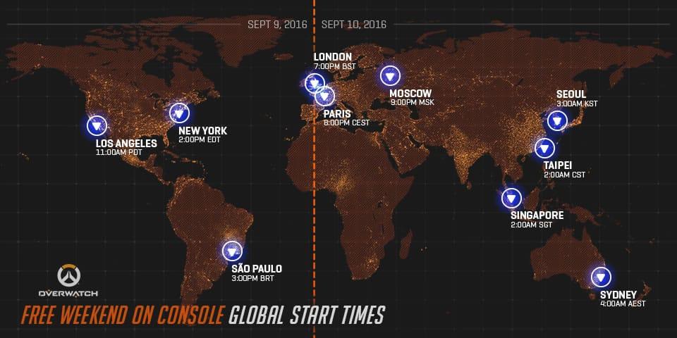 Horarios de disponibilidad de Overwatch (gratis).