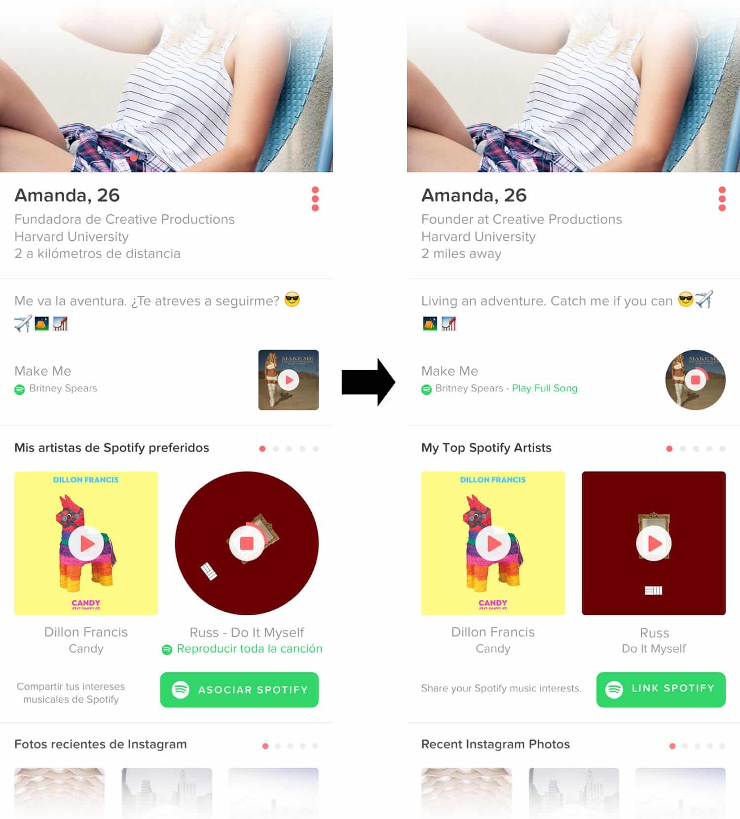 Reproduciendo una canción de Spotify en Tinder.