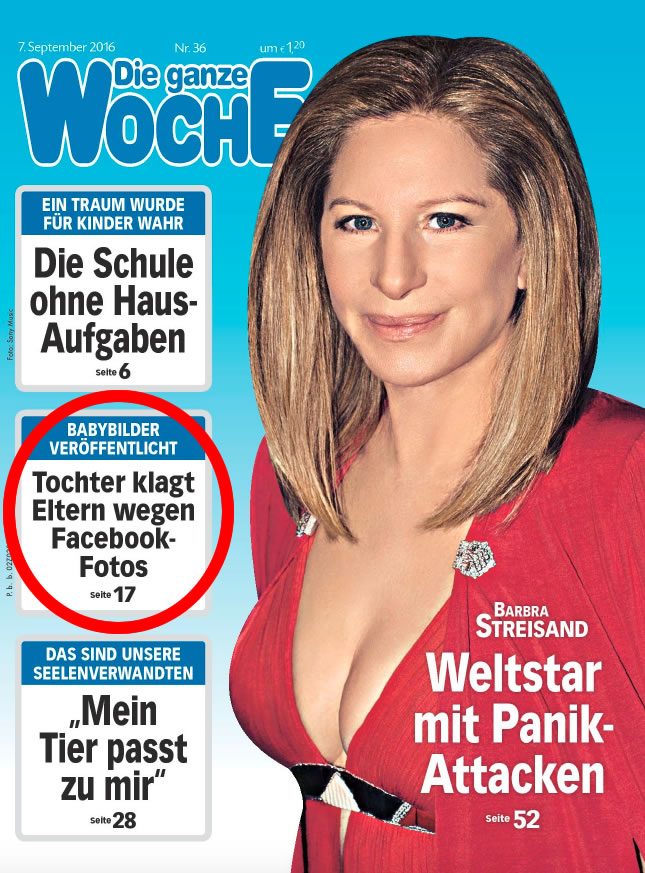 """Portada del """"Die ganze Woche"""" cuando contó de la demanda por las fotos en Facebook."""