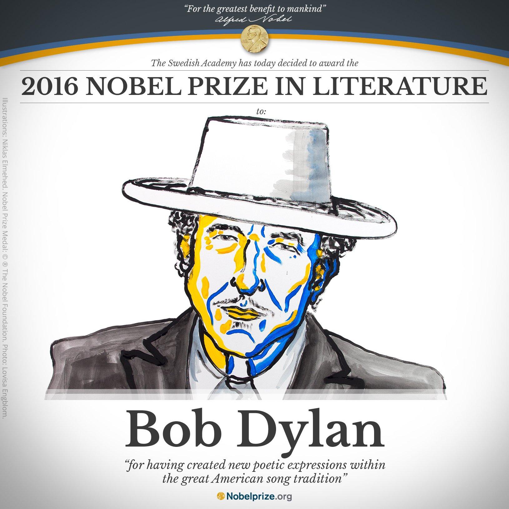 Anuncio de Bob Dylan como un nuevo Nobel de Literatura.