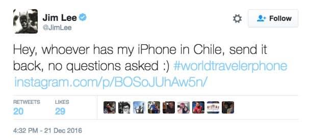 Jim Lee reclamando por su iPhone robado.