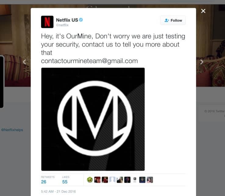 OurMine cuando hackearon la cuenta de Netflix.