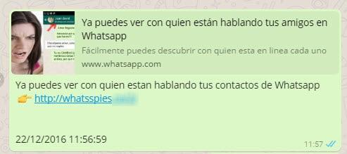 Link malicioso en WhatsApp.