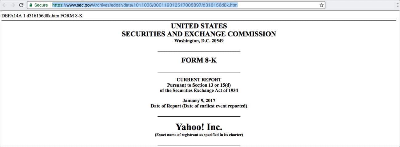 El documento publicado en SEC sobre Yahoo! y Altaba Inc.