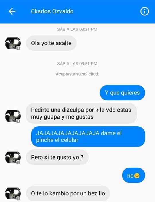 Esta fue la conversación que Debas tuvo por Facebook con su asaltante.