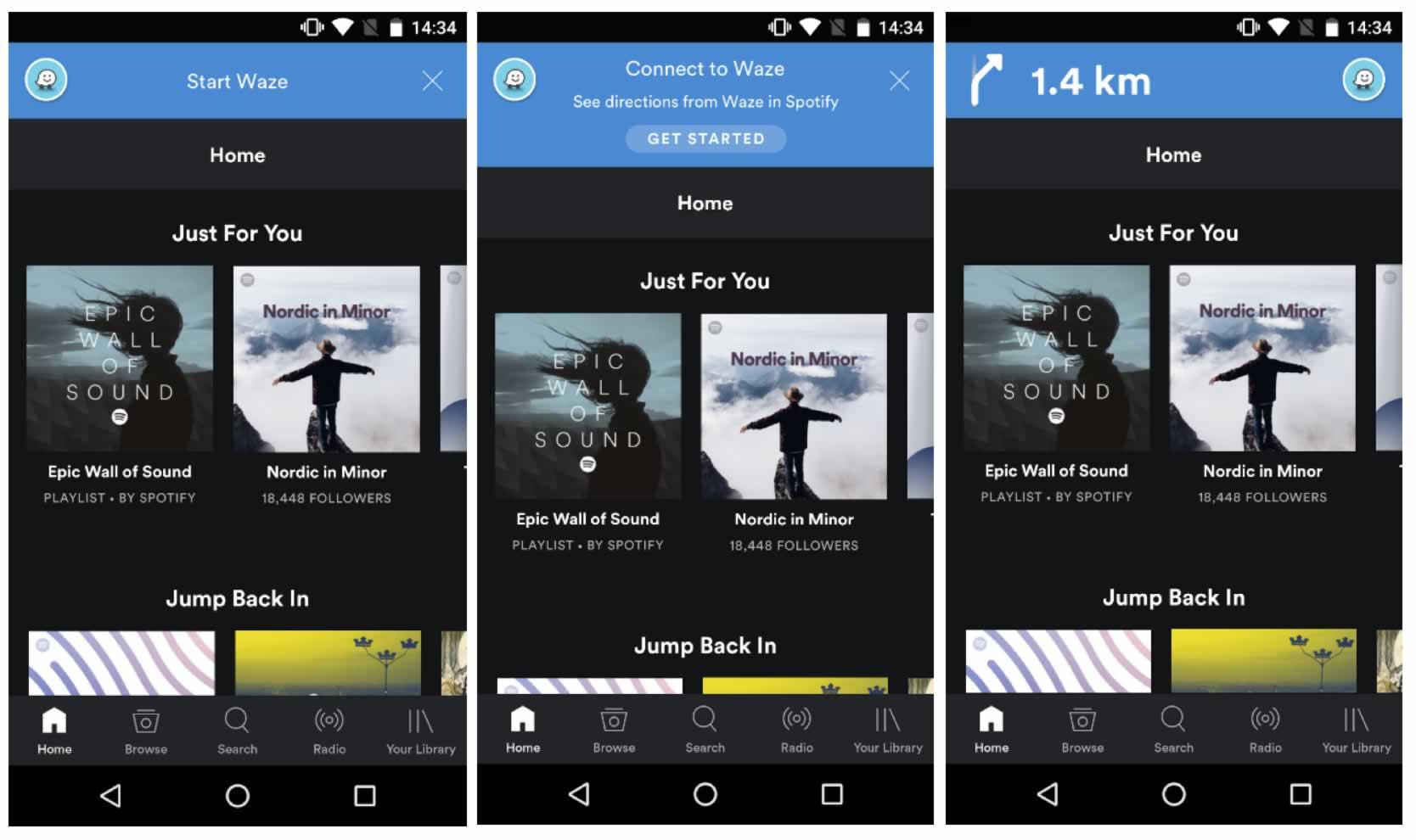Spotify desde Waze.