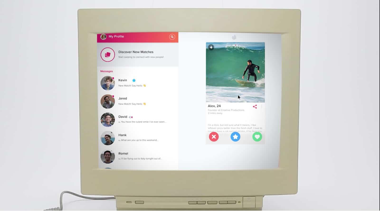Interfaz de Tinder Online.