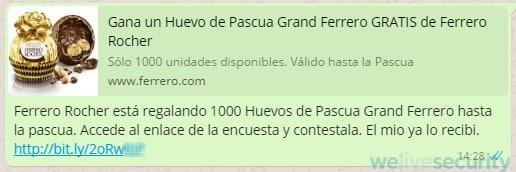 La falsa encuesta por los mil huevos de pascuas se comparte en WhatsApp.