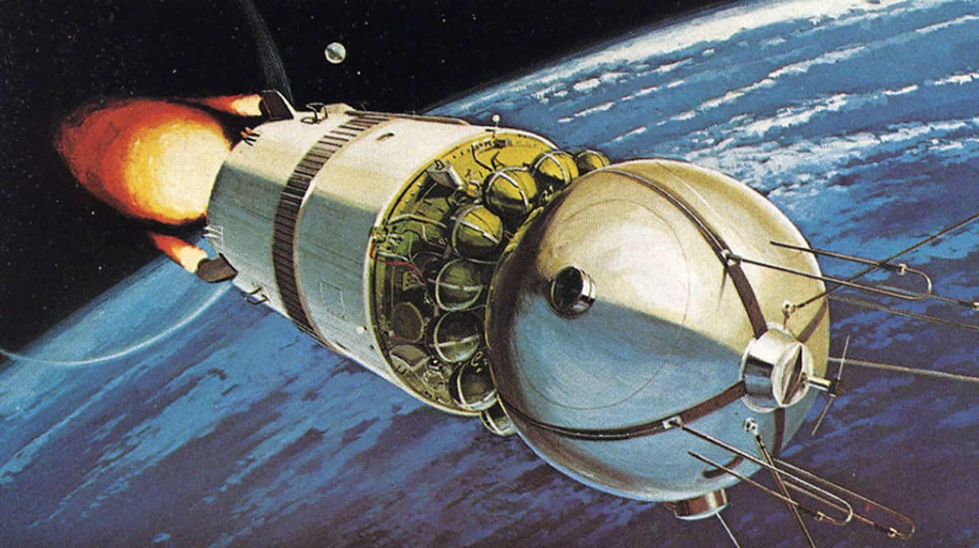 Cosmonáutica: Recreación ilustrada del Vostok 1.