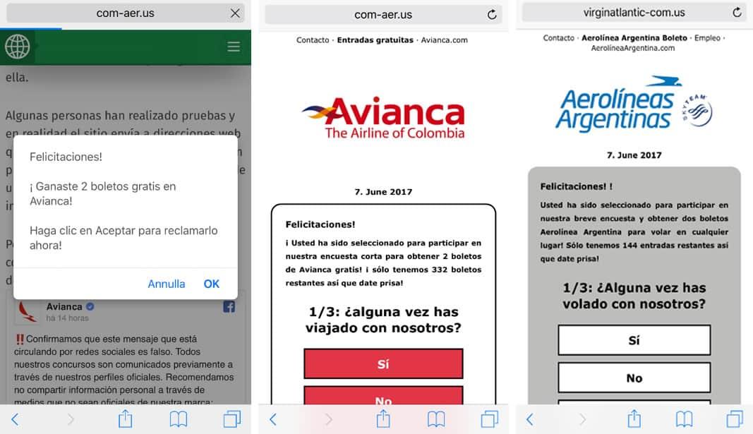 Falsas Web que prometen los tickets de avión.