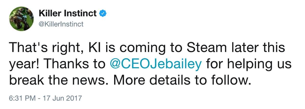 Tweet anunciado Killer Instinct en Steam.