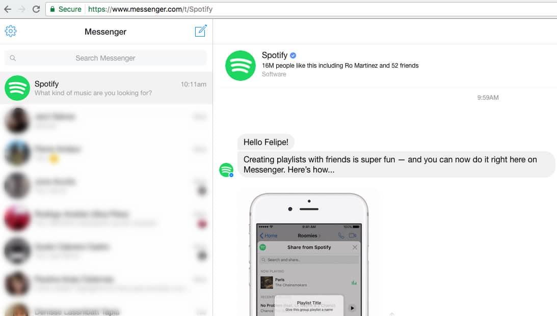 Cuando activas la extensión de Spotify, un bot te dará instrucciones para crear playlists.