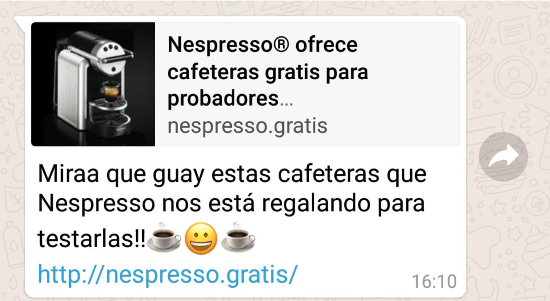 Falso mensaje que ofrece probar una Nespresso.