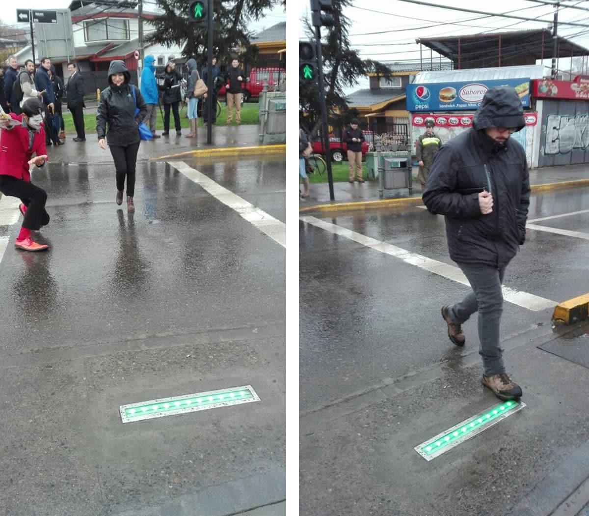 Semáforo de suelo en Concepción.
