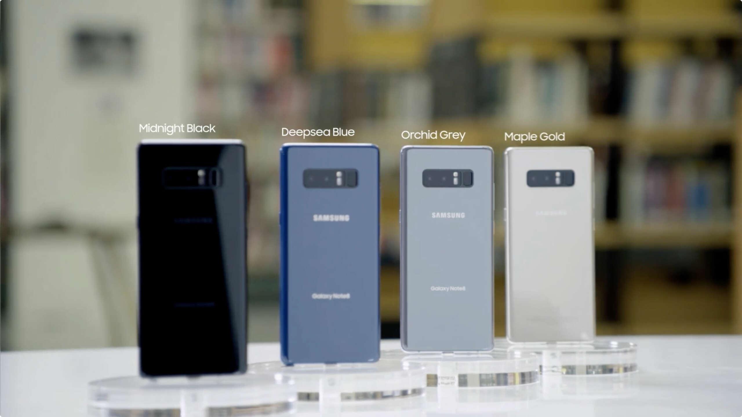 Colores del Galaxy Note 8.