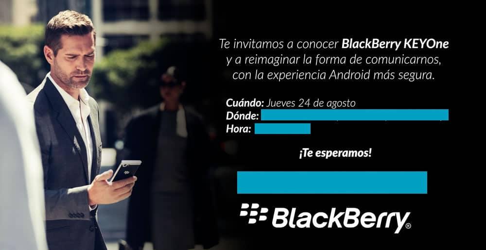 Invitación al lanzamiento de KEYone en Chile.