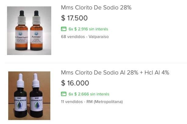 El MMS se vende en Chile a través de portales de ventas.
