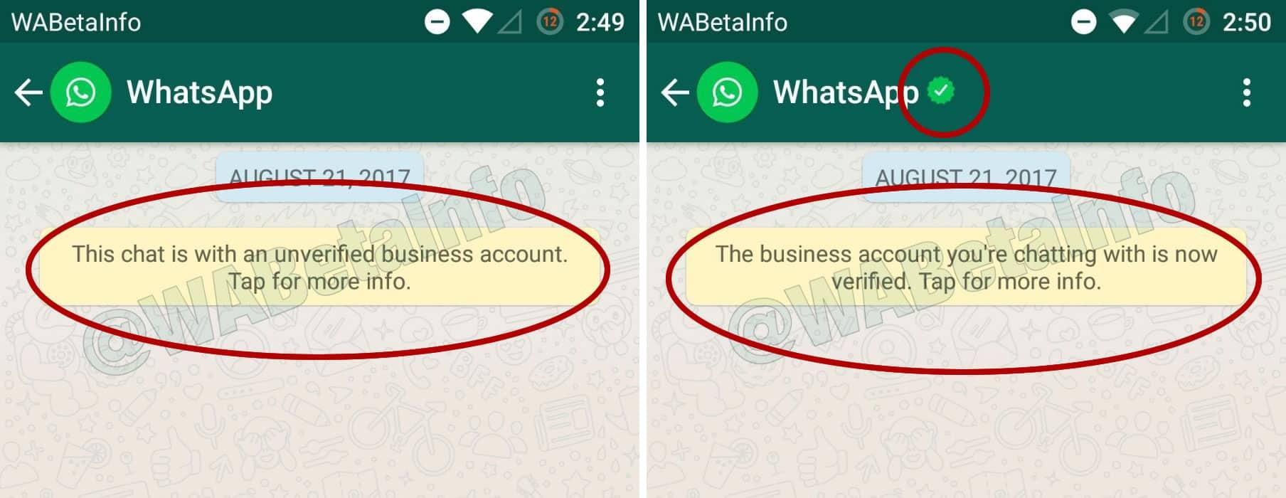 Existirán cuentas de empresas verificadas o no verificadas por WhatsApp.