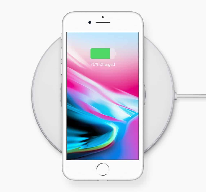 Carga inalámbrica del iPhone 8.