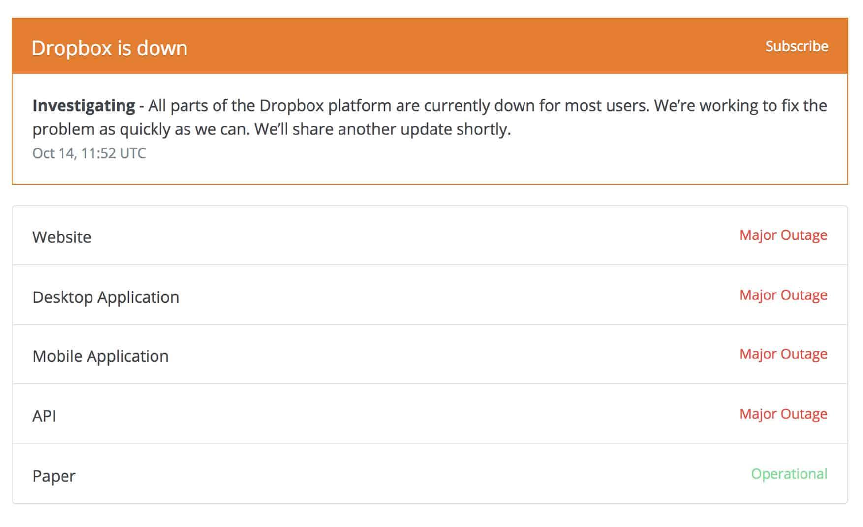 Se cayó Dropbox a nivel mundial y prácticamente ningún servicio funciona